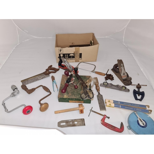 50 - Box of Assorted Vintage Tools Incl. Plane, Clamps, Drills etc...