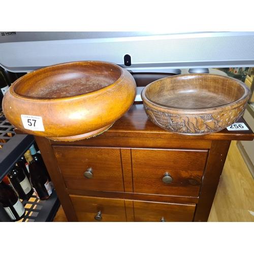 57 - 2 Old Wooden Bowls...