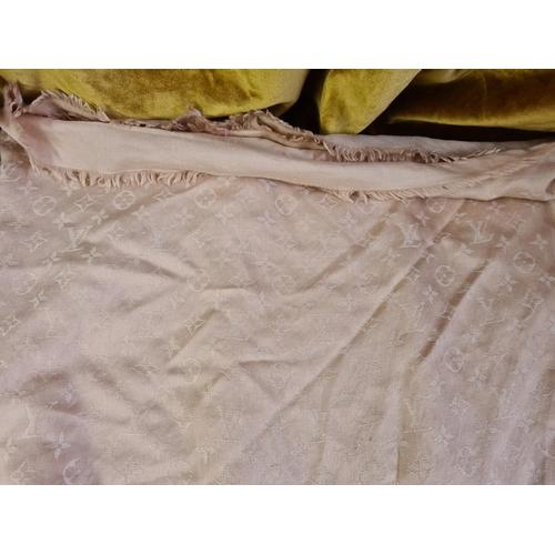 22 - LOUIS VUITTON Pink Monogram Silk/Wool Shawl Scarf (Guaranteed Authentic)...
