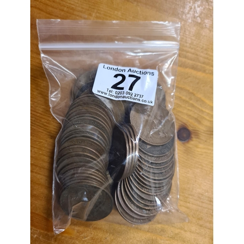 27 - Bag of 1919 GB Penny Coins 481.7g...