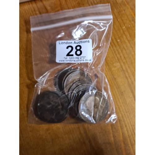 28 - Bag of 1915 GB Penny Coins 140g...