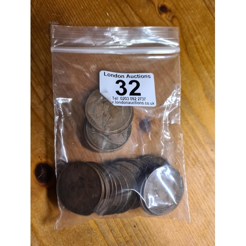32 - Bag of 1914 GB Penny Coins 230g...