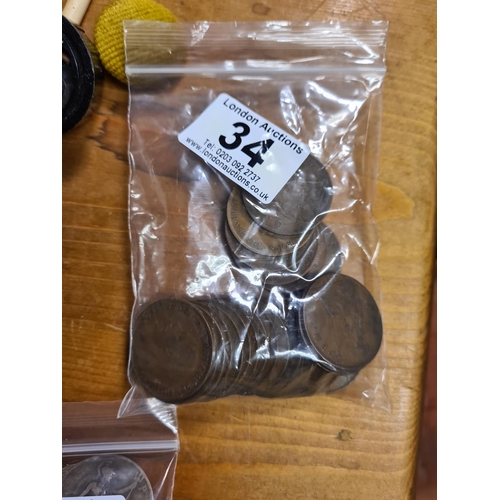 34 - Bag of 1927 GB Penny Coins 225g...