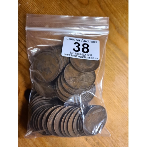 38 - Bag of 1921 GB Penny Coins 529g...