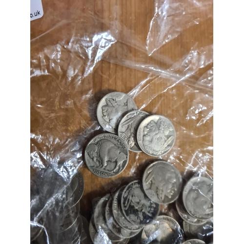 50 - Bag Containing 1937 Bufallo Nickel Coins 292g...