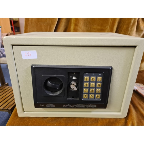 11b - Wall/Floor Mountable Security Safe 35cm x25cm x 25cm. With Key (Code needs resetting)...