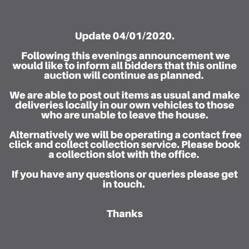 0 - Update 04/01/2020. Following this evenings announcement we would like to inform all bidders that thi...