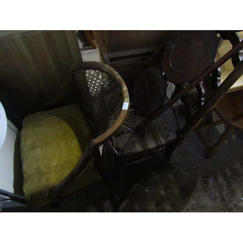 1016 - EDWARDIAN FOLDING CAKE STAND, 2 CHAIRS AND A STOOL...