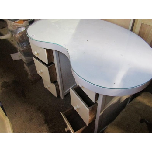 1017 - KIDNEY SHAPED DRESSING TABLE - `106cms w x 54cms d (at narrow point) x 73cms h....