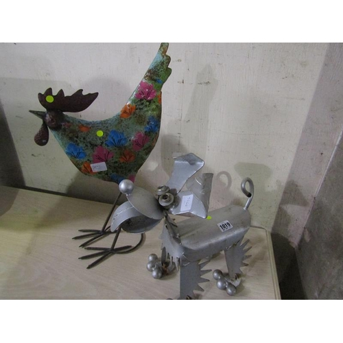 1019 - CONTEMPORARY METAL DOG FIGURE AND A HEN