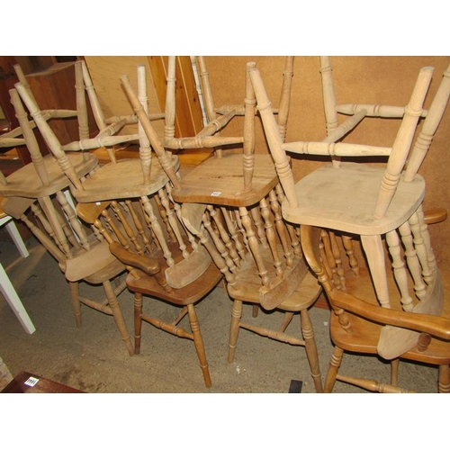 1047 - EIGHT BEECH SPINDLE BACK CHAIRS...