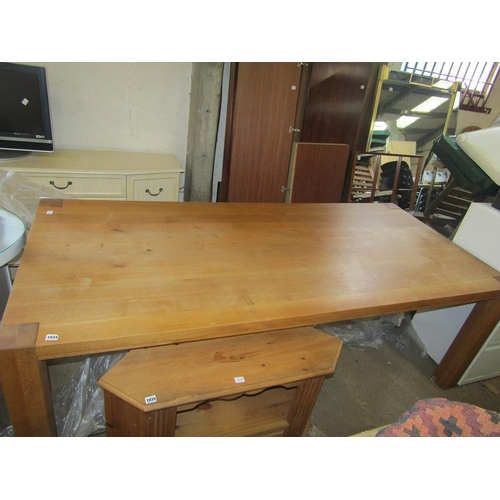 1034 - LARGE MODERN OAK DINING TABLE...