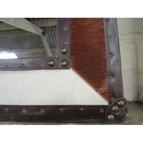 12 - COW HIDE FRAMED MIRROR