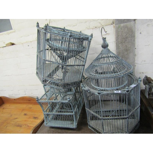 18 - THREE REPRO WOODEN BIRD CAGES