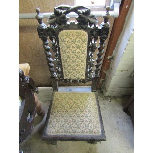 22 - SIX VICTORIAN CARVED OAK DINING CHAIRS