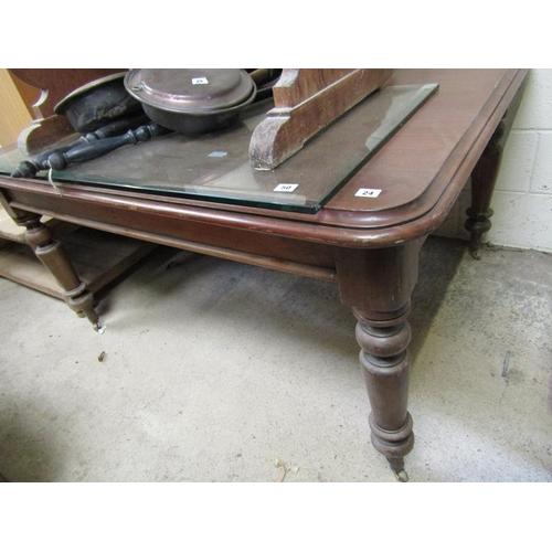 24 - VICTORIAN PINE DINING TABLE - 112 cms w x l 140cm x h 75 cms