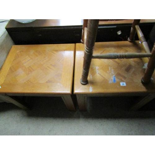 39 - TWO OAK TABLES; BAT STOOL