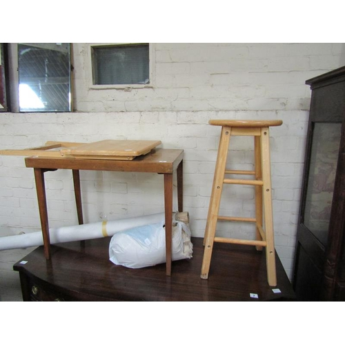 9 - FOLDING TABLE; STOOL
