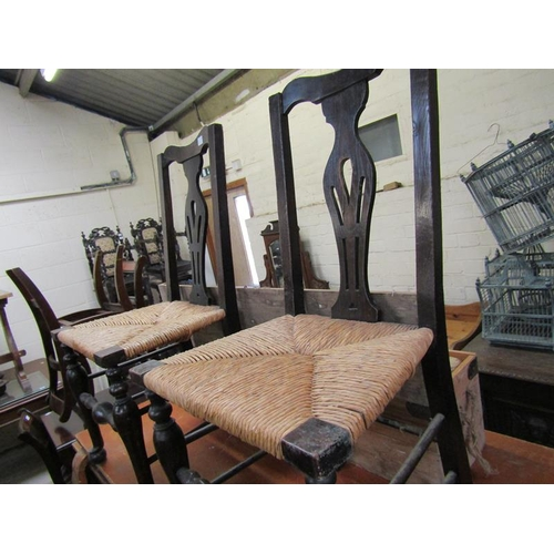 52 - FOUR VICTORIAN RUSH SEATED CHAIRS