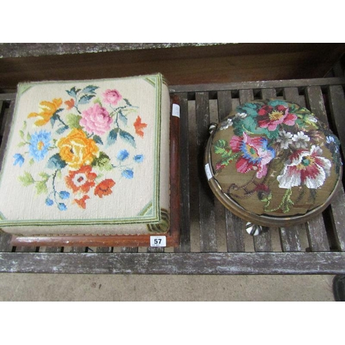 57 - TWO VICTORIAN FOOTSTOOLS
