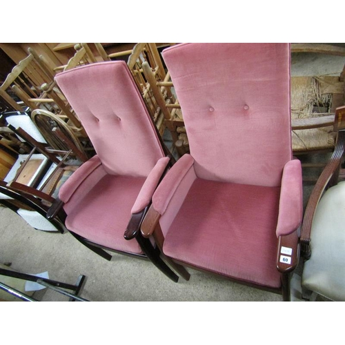60 - TWO BUTTON BACK ARMCHAIRS