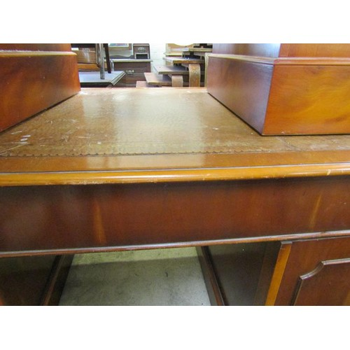 53 - REPRODUCTION YEW WOOD DESK - l 155 cms x d 92 cms x h 76 cms