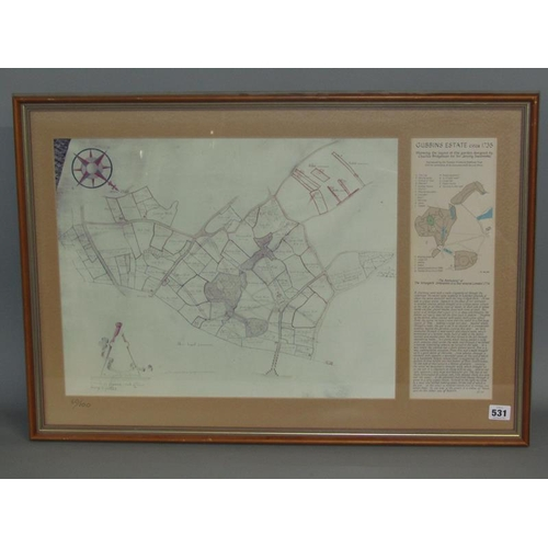 531 - GUBBINS ESTATE c.1735 CONTEMPORARY MAP DRAWN TO SCALE.  F/G 39 x 64 cms