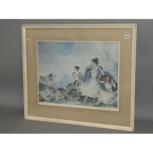 533 - WILLIAM RUSSELL FLINT F/G COLOURED PRINT AN APPROACHING SHOWER 45 x 57 cms