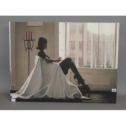 534 - LADY SEATED IN WINDOW SETTING IN THE STYLE OF VETTRIANO - OIL ON CANVAS, UNFRAMED 60 x 30cms