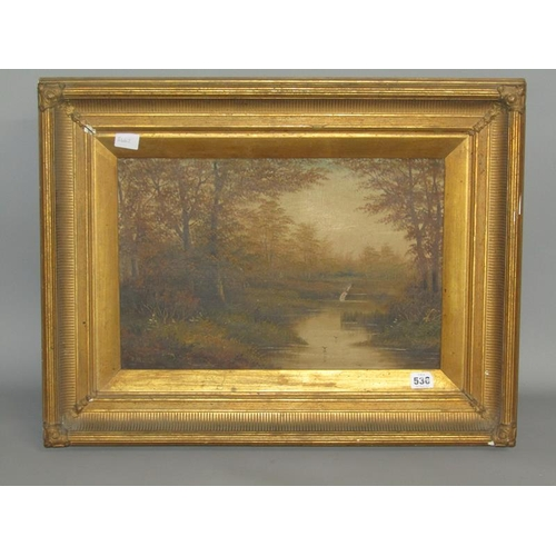 536 - D MCKENZIE 19c FISHERMAN ON THE BANKS OF A WOODLAND POOL, SIGNED OIL ON CANVAS.  FRAMED 30 x 45cms