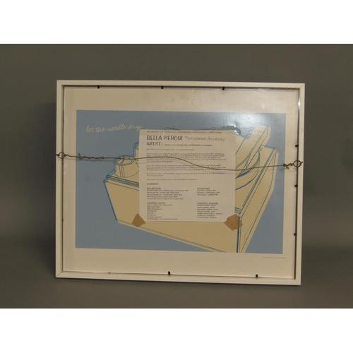 542 - BELLA PIERONI - FEMALE SWIMMING, WATERCOLOUR AND INK, SIGNED IN MONO, F/G, 23CM X 34CM