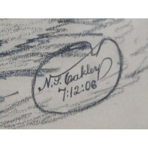 544 - N S OAKLEY 7.12.06 - OLD MILL IN BELGUIM, SIGNED, BLACK CHALK, F/G, 40CM X 31CM