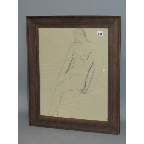 546 - PENCIL SKETCH - PORTRAIT OF ANUDE FEMALE, IN THE MANNER OF VIOLA GERTRUDE HARVEY 1874/1954, F/G 50CM...