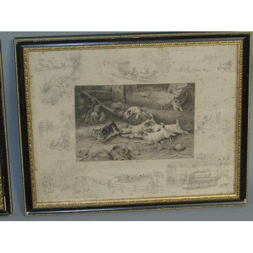 551 - WALTER HUNT - FOUR F/G BLACK AND WHITE PRINTS - HUNTING RELATED, ALL F/G, 20CM X 26CM