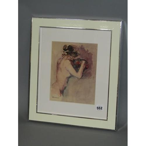 552 - PETER MAZAROLI C.1970 - NUDE FEMALE WITH BOUQUET OF FLOWERS, SIGNED, WATERCOLOUR, F/G, 24CM X 19CM