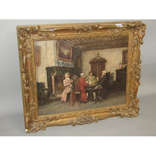 553 - F M BENNETT 1933 - 18C CARD GAME, SIGNED AND DATED, OIL ON CANVAS, FRAMED, 40CM X 50CM