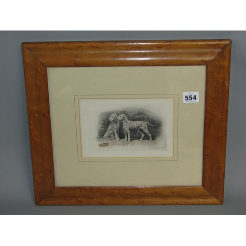 554 - AFTER ARTHUR WARDLE - MAPLE FRAMED COLOURED PRINT - TWO DALMATIONS, 13CM X 20CM