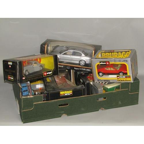 557 - QTY OF BOXED BURAGO MODEL CARS, JAGUAR, CITROEN ETC.
