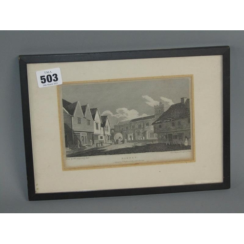 503 - ANTIQUE ROAD MAP TO BIGGLESWADE AND STEVENAGE 20 x 13 cms TOGETHER WITH A FRAMED 19c BLACK AND WHITE...