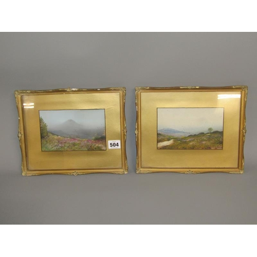 504 - PAIR OF F/G WATERCOLOURS MOORLAND LANDSCAPES, UNSIGNED - EACH 11 x 17 cms