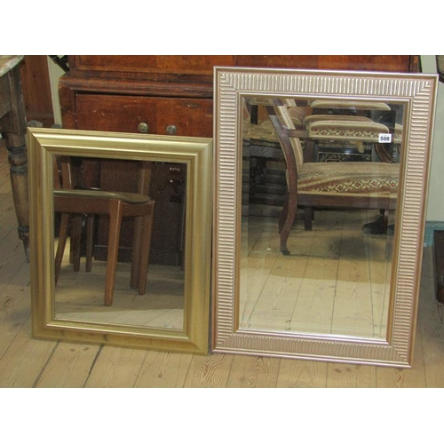 508 - TWO GILT FRAMED WALL MIRRORS, 83CM X 58CM & 53CM X 64CM