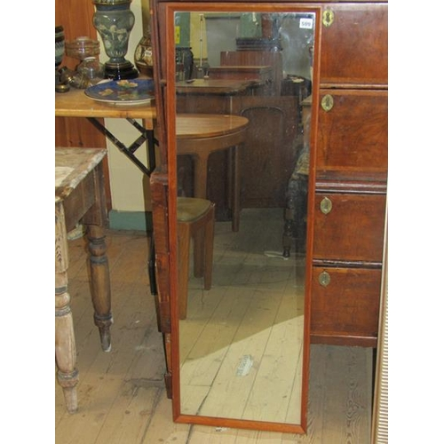 509 - TEAK FRAMED WALL MIRROR, 125CM X 41CM