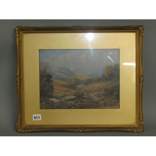 511 - G ARMSTRONG - VALLEY IN THE HIGHLANDS, SIGNED, WATERCOLOUR, F/G, 23CM X 30CM