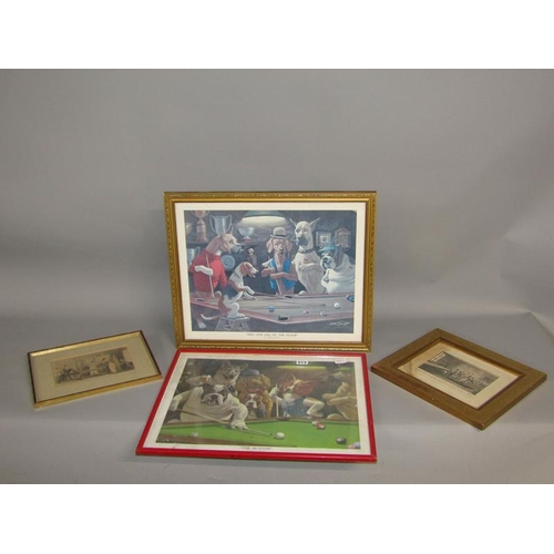 513 - FOUR F/G COLOURED PRINTS RELATING TO SNOOKER (TWO 19C)