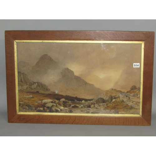 514 - SIGNED IN MONO, DATED 1852 - RIVER VALLEY IN THE HIGHLANDS, SIGNED, F/G, 37CM X 64CM