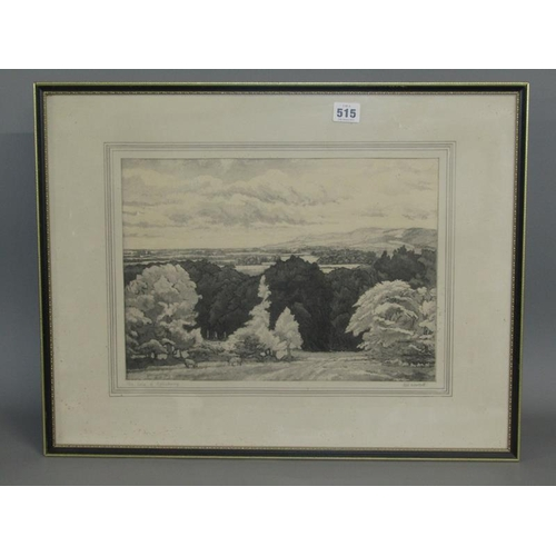 515 - H W WOOLLETT - THE VALE OF AYLESBURY, BLACK AND WHITE ENGRAVING, F/G, 27CM X 38CM