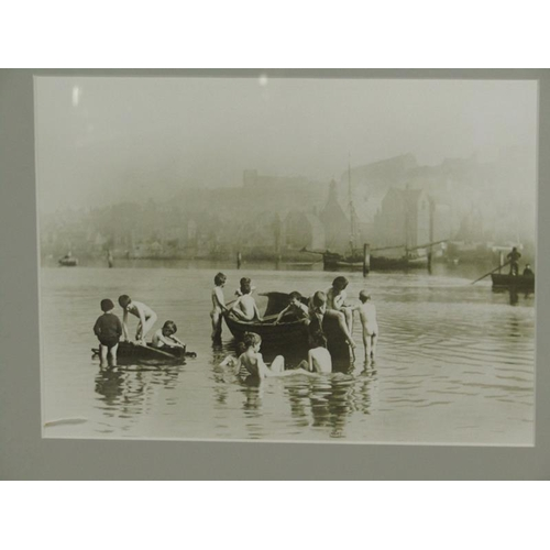 518 - FRAMED BLACK AND WHITE PHOTOGRAPH - BOYS BATHING WHILST PLAYING TRUENT FROM SCHOOL, PEN AND INK NOTE...