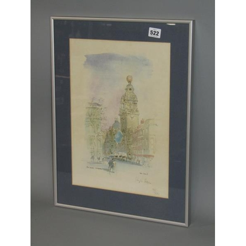 522 - HUGH CASSON - FRAMED COLOURED LIMITED EDITION PRINT, THE LONDON COLOSSEUM 140/500, SIGNED IN PENCIL,...