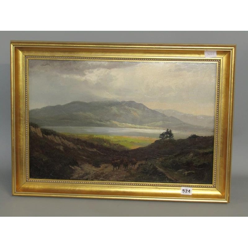524 - W WHITBRED 1898 - CATTLE AND DROVER LEAVING A LOCHSIDE SETTING, OIL ON CANVAS, GILT FRAMED, 35CM X 5...