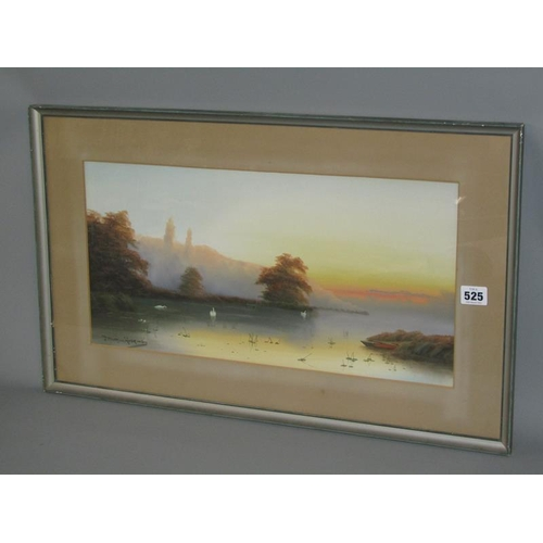 525 - J MORRIS HOSKING - SWANS ON A LAKE WITH MIST RISING, SIGNED, WATERCOLOUR, F/G, 25CM X 50CM